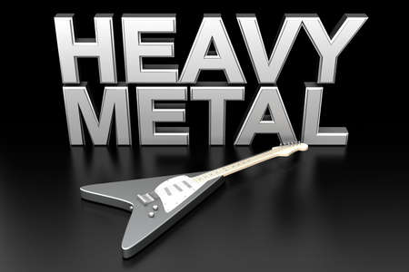 heavy metal: The word heavy metal with a generic guitar. 3D rendered Illustration.