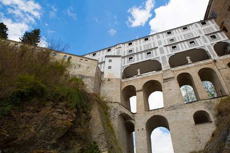republik: Famous castle bridge in Cesky Krumlov, Czech republik, Europe.