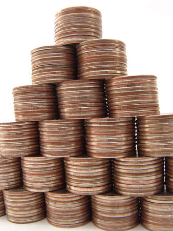 There are 210 coins in this pyramide photo