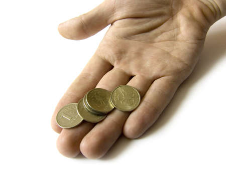 amounts: Hand with some coins on it