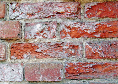 Photo of Crushed and dirty red bricks. Can be used like  background photo