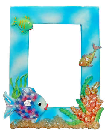 Photo of cool fishy photoframe :)  girls are happy - when they see their portraits in such a frame :) Stock Photo - 436607