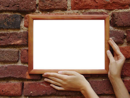 Wooden frame in beautiful woman hands. Stock Photo - 470161