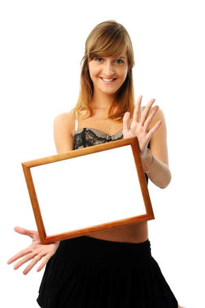 Happy young woman with empty frame.  More pictures of this girl in my portfolio. Please write me where you use my photos. photo