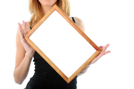 Wooden frame in beautifull woman hands isolated on white and ready for your text or picture Stock Photo - 895812