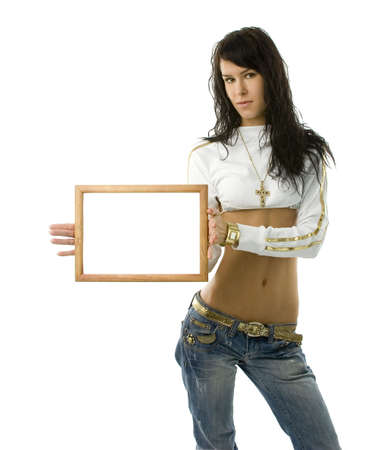 Young fashion girl with wooden frame in hands photo