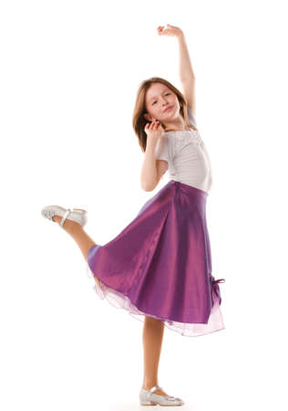 little models: Funny pie muchacha encantadora en un pie Foto de archivo