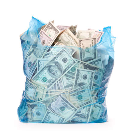 dollar bag: Plastic bag full of money
