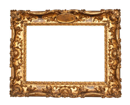 baroque picture frame: Ornamented, very old, gold plated empty picture frame for putting your pictures in