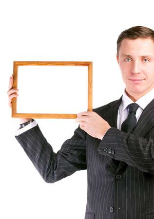 job posting: Businessman in stylish black suit holding empty frame