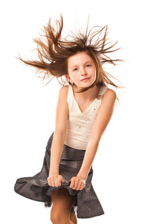 flying hair: Funny lovely girl with windy hair