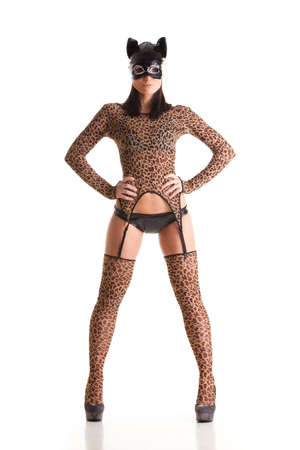 Sexy girl wearing catwoman disguise photo
