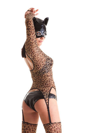 Sexy girl wearing catwoman disguise