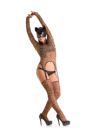 Sexy go go dancer wearing catwoman costume and mask photo