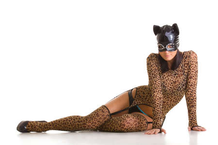 Young sexy woman in cat costume and mask posing on the studio floor. Stock Photo - 7657627