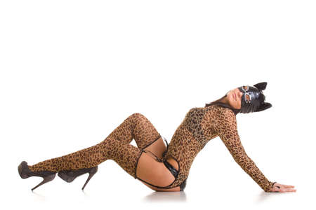 Young sexy woman in cat costume and mask posing on the studio floor.