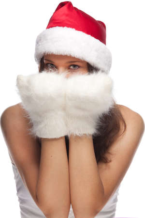 Young positive girl dressed as Santas helper photo