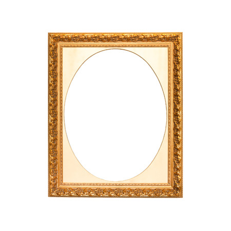 passepartout: Old golden frame with oval passepartout. Isolated over white background