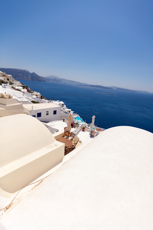 Sea view from the roof of the hotel, Santorini island, Greece photo