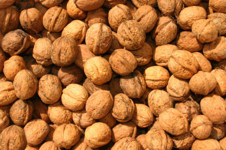 nervure: Closeup texture of pile of wallnuts
