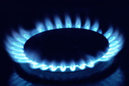Close up of a gas burner Stock Photo
