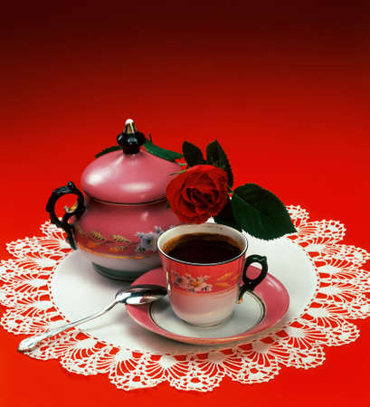 coffeepots: Oriental serve of coffee in red ambient