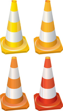 Four different traffic cone Vector