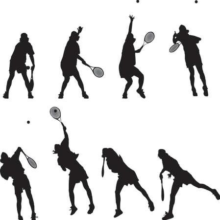 Silhouettierter Tennisservice in der Bewegung