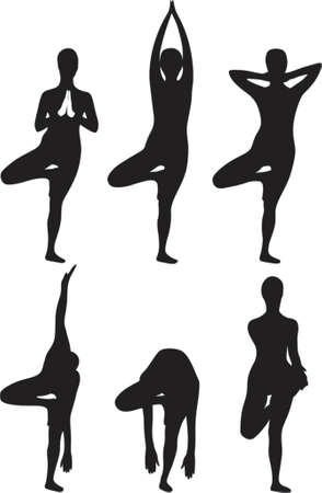 Yoga tree exercise Vector