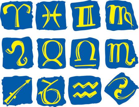 Horoskopsymbole auf dem blauen Hintergrund Illustration