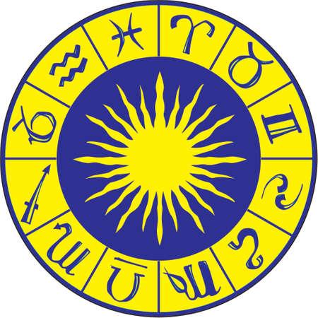 taurus sign: Zodiac symbols on the blue background Illustration