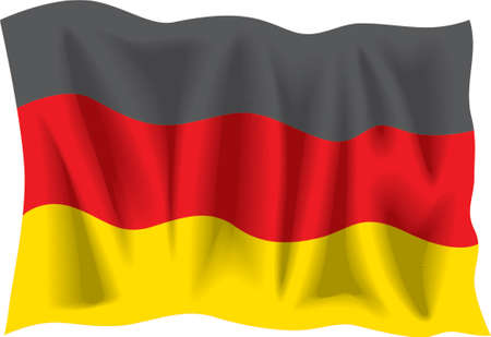 deutchland: Waving flag of Germany isolated on white