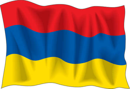Waving flag of Armenia isolated on white Vector