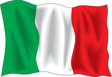 italian flag: Waving flag of Italian isolated on white