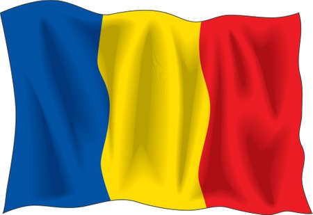 Waving flag of Romania isolated on white Vector