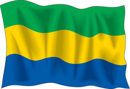 Waving flag of Gabon isolated on white Vector