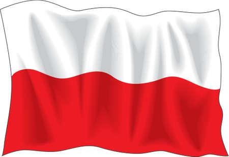 Waving Flagge von Polen isoliert auf weißem  Illustration