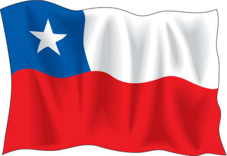 Waving flag of Chile isolated on white Vector