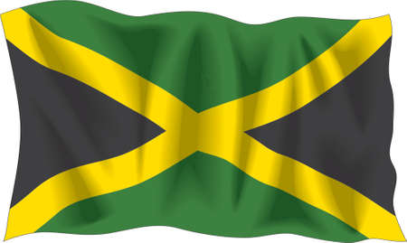 Waving flag of Jamaica isolated on white Stock Vector - 922324