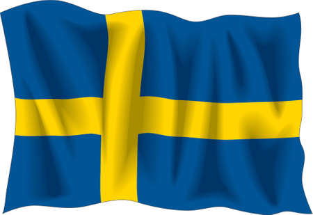 Waving flag of Sweden isolated on white Vector
