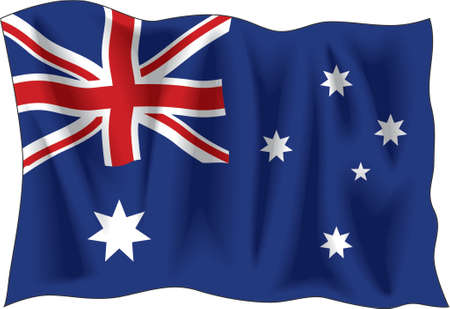Waving Flagge Australien isoliert auf weißem