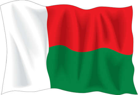 Waving flag of Madagascar isolated on white Vector