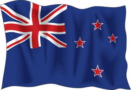 """Winkeclown Flagge der """"New Zealand"""" isoliert auf weiß"""