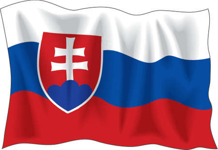 Waving flag of Slovakia isolated on white Vector