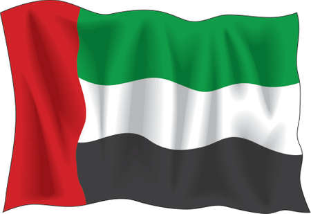 Waving flag of United Arab Emirates isolated on white Vector