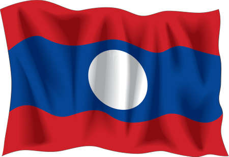 Waving flag of Laos isolated on white Vector