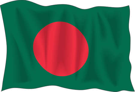 star spangled: Waving flag of Bangladesh isolated on white Illustration