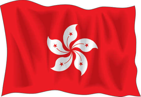 proportional: Waving flag of Hong-Kong isolated on white