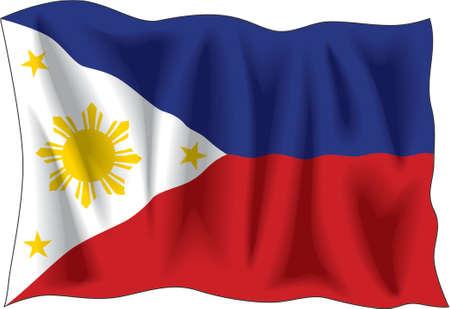 Waving flag of Philippines isolated on white Illustration