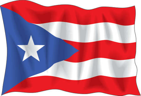 star spangled: Waving flag of Puerto-Rico isolated on white Illustration